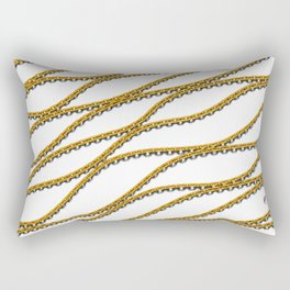 Wave Gold Chain White Rectangular Pillow