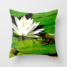 Frog with lily flower reflection Throw Pillow