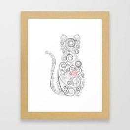 Black Cat on White World Framed Art Print