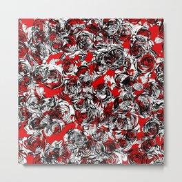 Roses Wild RED Metal Print