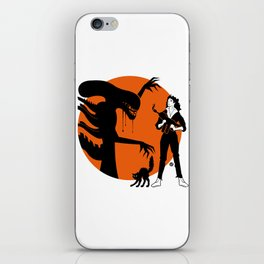 Alien Cartoon Style - Orange iPhone Skin