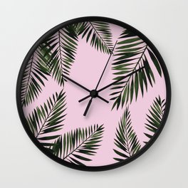 Watercolor tropical palm leaves pink Wall Clock