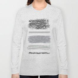 Gray Brushstrokes Long Sleeve T-shirt
