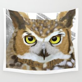 Great Horned Owl & Poly Thoughts Wall Tapestry