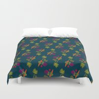 vegetable Duvet Covers featuring Vegetable Medley by Veronica Galbraith