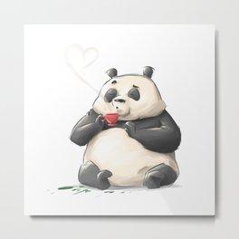 Panda Loves Coffee Metal Print