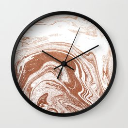 Marble copper metallic suminagashi spilled ink japanese marbling abstract ocean swirl Wall Clock