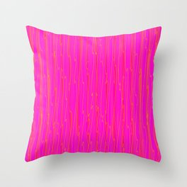 Vertical curved orange lines on a pink tree. Throw Pillow