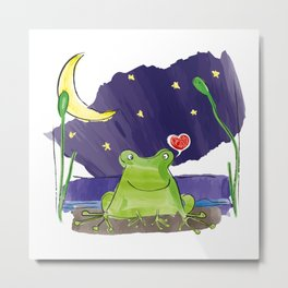 The frog and the moon Metal Print