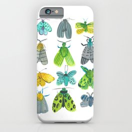 Turquoise and Green Watercolor Moths Print iPhone Case