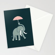 Elephant with umbrella Stationery Cards