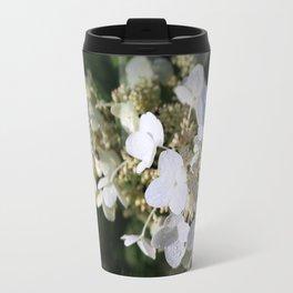 White Blossoms With Raindrops Travel Mug