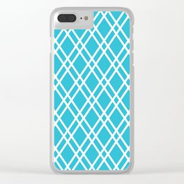 Blue and white rhombus lines pattern Clear iPhone Case