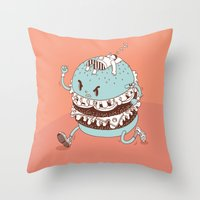 burger Throw Pillows featuring Burger by BIGMOUTH