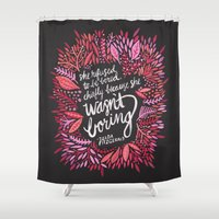 fitzgerald Shower Curtains featuring Zelda Fitzgerald – Pink on Charcoal by Cat Coquillette