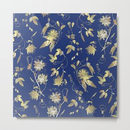 Elegant Gold Blue Passiflora Pattern Metal Print