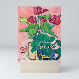Houseplant Still Life Painting with Cheetah, Pilea, and Anthurium  Mini Art Print