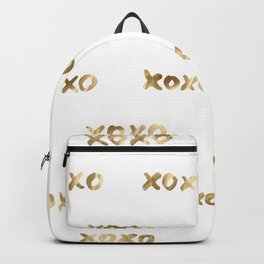 XOXO Love Me Gold on White Pattern II Backpack
