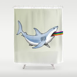 Rainbow Shark Shower Curtain