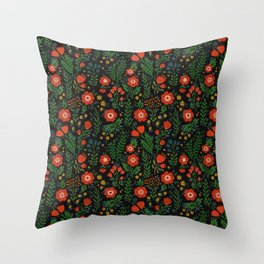 Russian flowers Throw Pillow