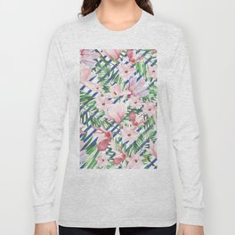 Modern blue white stripes blush pink green watercolor floral Long Sleeve T-shirt