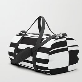 Abstract striped pattern. black and white . Duffle Bag