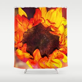 Close-up of a Bright Orange and Yellow Sunflower Shower Curtain