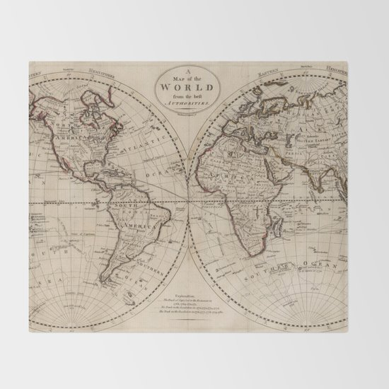 Old fashioned world map 1795 throw blanket by bravuramedia society6 gumiabroncs Choice Image