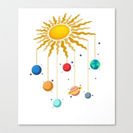 Cute Hanging Planets On Sun Stars Outer Space Galaxy Canvas Print