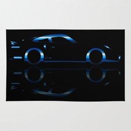 Blue Flash Fast Car Rug