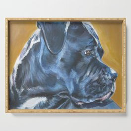A Cane Corso dog portrait from an original painting by L.A.Shepard Serving Tray