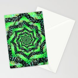 Folding Green Paper into Zigzags Stationery Cards