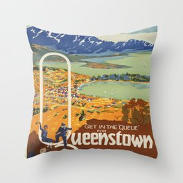 Get in the Queue for Queenstown Vintage Travel Poster Throw Pillow