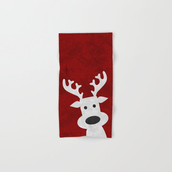 Christmas reindeer red marble Hand & Bath Towel