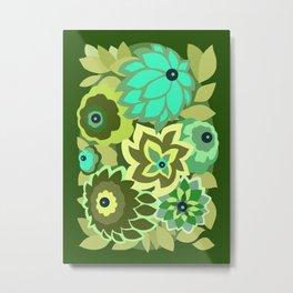 CAMBRIA, ART DECO FLORALS: GREEN SCENE Metal Print