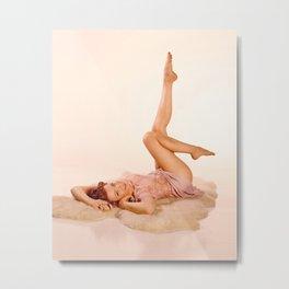 """Kicking Back"" - The Playful Pinup - Sexy Pin-up Girl on Fur Rug by Maxwell H. Johnson Metal Print"