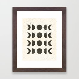 Moon Phases - Black on Cream Framed Art Print