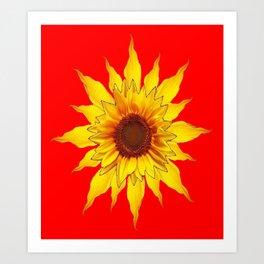 Decorative Yellow Sunflower On Chinese red Art Art Print