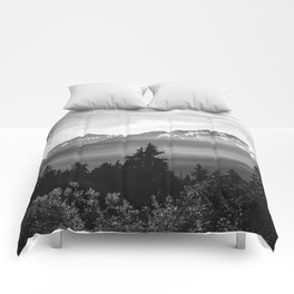 Morning in the Mountains Black and White Comforters