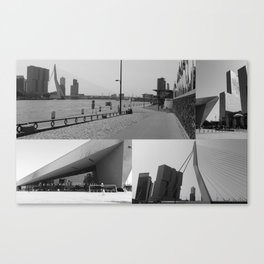Photo collage Rotterdam 4 in black and white Canvas Print
