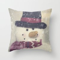 snowman Throw Pillows featuring Snowman by Photography and Fine Art by Pamela