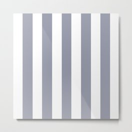 Manatee grey - solid color - white vertical lines pattern Metal Print