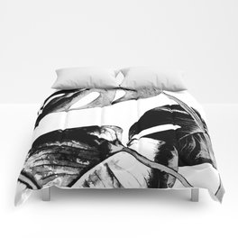 Black monstera leaves watercolor Comforters