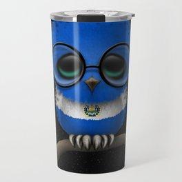 Baby Owl with Glasses and Salvadorian Flag Travel Mug