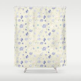Pastel Watercolor Flowers on yellow background Shower Curtain