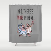 wine Shower Curtains featuring Wine by Artysmedia