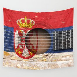 Old Vintage Acoustic Guitar with Serbian Flag Wall Tapestry