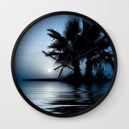 Blue Tropical Sunrise Wall Clock