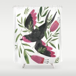 Swallow with Flowers Shower Curtain
