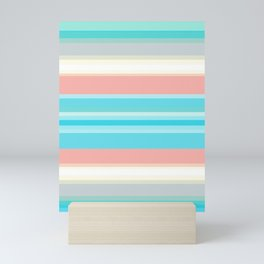 On the beach, Mexican inspired, striped pattern, pastel colors. Mini Art Print